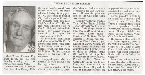 O Thomas Roy Teeter